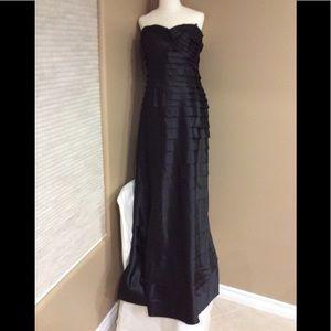 BCBG Max Azria Black Strapless Tiered Satin Gown